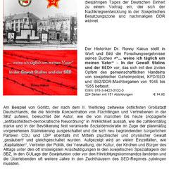 Vortrag über die Stalinisierung der SBZ/DDR im Jahrzehnt nach dem II. Weltkrieg