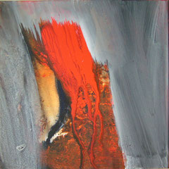 B. Spanblöchel: Red Trunk, 2008, acrylic paint on canvas, 40 x 40 cm