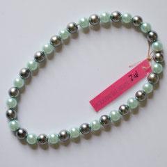 #M2 Glas Wachsperlen hellblau & silber, Länge 26 cm     18,-€