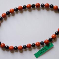 #G13 Halskette rote Koralle 12mm & Blaufluss 8mm, silberfarbener Karabiner, Länge 42 cm     45,-€