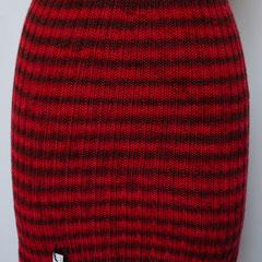 #295 Streifenrock rot, Bündchenmuster. Umfang  cm, Länge  cm. 100% Polyacryl     115,-€