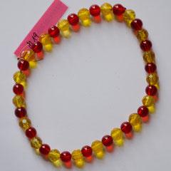 #M19 transparentes Glas rot glatt & gelb facettiert, Länge 26 cm     18,-€