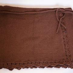 #294 Wickelrock braun, mit Häkelborte, mit Bindeband. Umfang 92 Länge 41 cm. 100% Baumwolle     115,-€