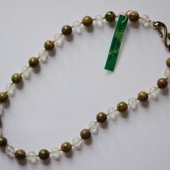 #G10 Halskette Unakit 10mm & Bergkristall 8mm mit goldfarbenen Rocailles, Messingverschluss, Länge 44 cm   45,-€