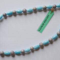 #G2 Halskette Glasperlen hellblau & flieder, Verschluss 925er Silber, Länge 43 cm     25,-€
