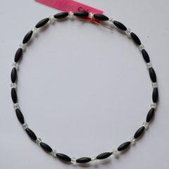#M3 Glas schwarz matt & transparent crush, Länge 30 cm     18,-€