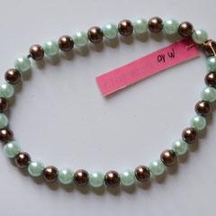 #M10 Glas Wachsperlen hellblau & bronzefarben, Länge 24 cm     18,-€