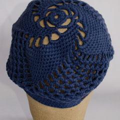 #140 Häkel-Mütze dunkelblau. Umfang ~55cm. 100% Baumwolle     38,-€