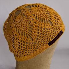 #143 Häkel-Mütze maisgelb, Ananas-Muster. Umfang ~56 cm. 100% Baumwolle     42,-€