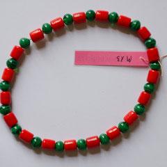 #M13 Glas rote Zylinder & grüne Kugeln, Länge 24 cm     18,-€