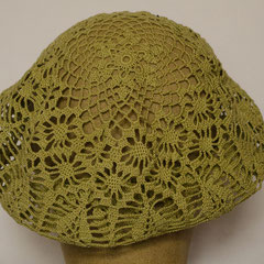 #533 Häkel-Mütze pistaziengrün. Umfang ~ 54 cm. 100% Baumwolle     52,-€