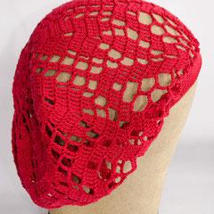 #148 Häkel-Mütze karminrot. Umfang ~ 53 cm. 100% Baumwolle     42,-€