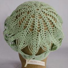 #137 Häkel-Mütze mintgrün. Umfang ~54 cm. 100% Baumwolle     42,-€
