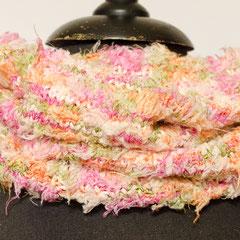 #464 Schlauchschal pink-orange-rosa-moosgrün. Umfang 52 cm, Höhe 29 cm.      48,-€