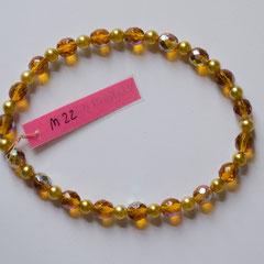 #M22 Glas Wachsperlen gelb & honiggelb facettiert, Länge 22 cm     18,-€