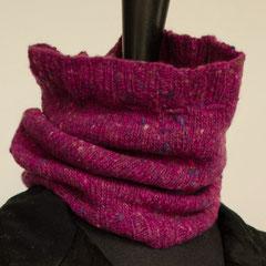 #105 Schlauchschal/Mütze pink Tweed. Umfang 40 cm, Höhe 25 cm. 100% Schurwolle     65,-€