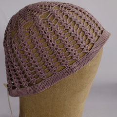 #142 Häkel-Mütze flieder. Umfang ~56 cm. 100% Baumwolle     42,-€