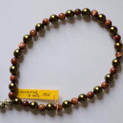 #M30 Glas Wachsperle grüngold & Goldfluss mit Dalmatiner-Jaspis, Länge 29 cm     22,-€