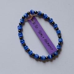 #K20 Hämatit & Glas blau schimmernd, Länge 13 cm     18,-€