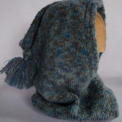 #127 Kapuzen-Schlauchschal blau-grau mit Quaste. Wolle und Polyester.     75,-€