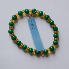#K13 Glas gelb facettiert & grün, Länge 16 cm     12,-€