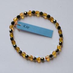 #K10 Glas irisierend facettiert Honiggelb & grüngold, Länge 18 cm     12,-€