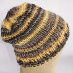 #169 Dicke grau-gelbe Mütze. Umfang ~ 55 cm. 100% Schurwolle     38,-€