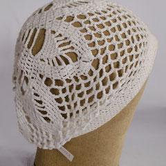 #139 Häkel-Mütze weiss. Umfang ~54 cm. 100 % Baumwolle     42,-€