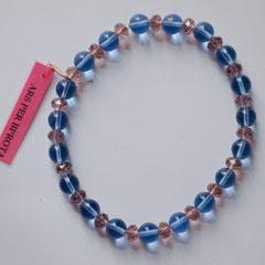 #M 6 Glas transparent hellblau glatt & altrosa facettiert, Länge 28 cm     18,-€