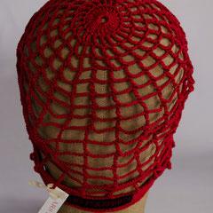 """#141 Häkel-Mütze """"Gitter"""" rot. Umfang ~55 cm. 100% Baumwolle     28,-€"""