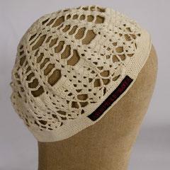 #146 Häkel-Mütze naturweiss. Umfang ~58 cm. 100% Baumwolle     42,-€