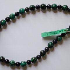#G16 Halskette Chrysokoll 12mm & Blaufluss 8mm, goldfarbener kugelförmiger Sicherheitsverschluss, Länge 44 cm     45,-€