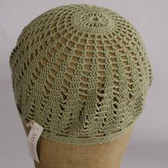 #150 Häkel-Mütze graugrün. Umfang ~ 53 cm. 100% Baumwolle     22,-€