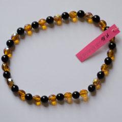 #M16 Glas schwarz glänzend & orange facettiert irisierend, Länge 26 cm     18,-€