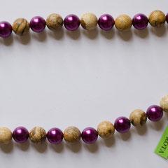 #G5 Halskette Landschaftsjaspis 12mm & Glas 10mm, Messingverschluss, Länge 49 cm     32,-€