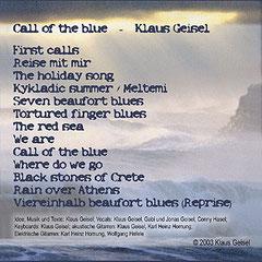 Rückseite des Covers: eine Übersicht der Songtitel