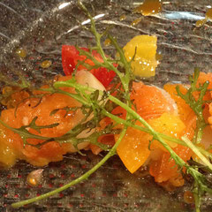 北海道の素材、樺太鱒や帆立を金柑の甘酸っぱさで。
