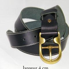 ceinture noire cuir laiton france
