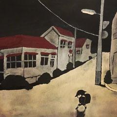 30×40 アクリル ベニヤ 「夜の道」 2019