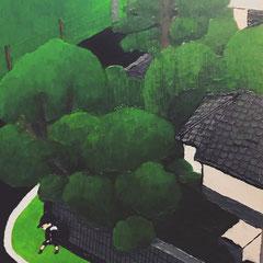 30×40 油絵 ベニヤ 「早朝」 2019