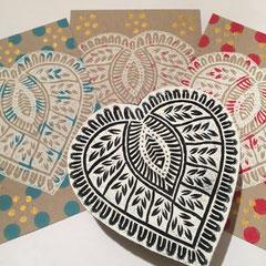 Postkarten handbedruckt mit indischen Holzstempel. Erhältlich im Laden Wädenswil oder über den Onlineshop