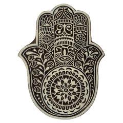 Indische Holzstempel Hand von Fatima für Textildruck werden in der Schweiz entworfen und in Indien fair produziert