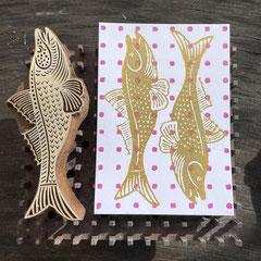 Handbedruckte Block Print Postkarten mit indischen Holzstempel. Gedruckt in Wädenswil Schweiz.