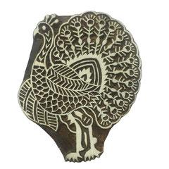 Indische Holzstempel Pfau für Textildruck werden in der Schweiz entworfen und in Indien fair produziert