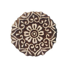 Indische Holzstempel Mandala Motiv für Textildruck werden in der Schweiz entworfen und in Indien fair produziert