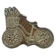 Indische Holzstempel Fahrrad für Textildruck werden in der Schweiz entworfen und in Indien fair produziert