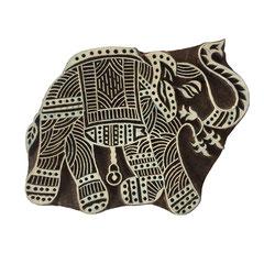 Indische Holzstempel Elephant für Textildruck werden in der Schweiz entworfen und in Indien fair produziert