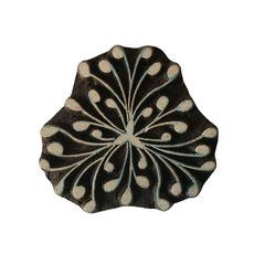 Indische Holzstempel Wilde Blume Motiv für Textildruck werden in der Schweiz entworfen und in Indien fair produziert