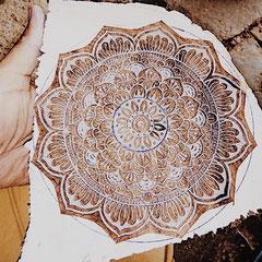 Die maasa Holzstempel werden in Uttar Pradesh  Indien von lokalen Holzschnitzer  produziert.