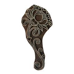 Indische Holzstempel Lotus Motiv für Textildruck werden in der Schweiz entworfen und in Indien fair produziert